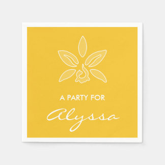 Elegant Orchid Simple Rich Yellow Flower With Name Disposable Napkins