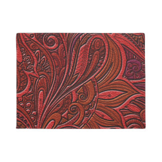 Elegant Oriental Floral Swirl on Red Leather Doormat