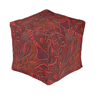 Elegant Oriental Floral Swirl on Red Leather Pouf