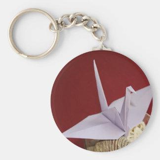 elegant origami crane keychain