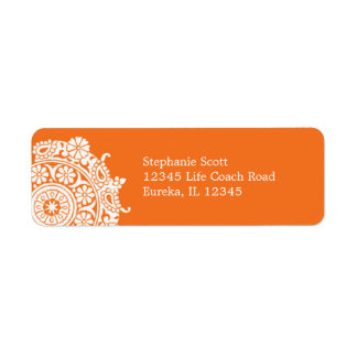 Elegant Ornament White/Orange Avery Label Return Address Label