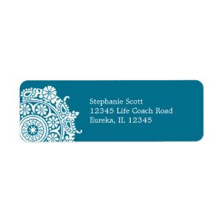 Elegant Ornament White/Peacock Avery Label Return Address Label