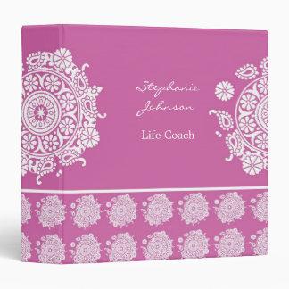 Elegant Ornament White/Pink Avery Binder