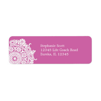 Elegant Ornament White/Pink Avery Label Return Address Label