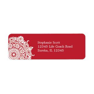 Elegant Ornament White/Red Avery Label Return Address Label