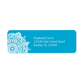 Elegant Ornament White/Sky Blue Avery Label Return Address Label