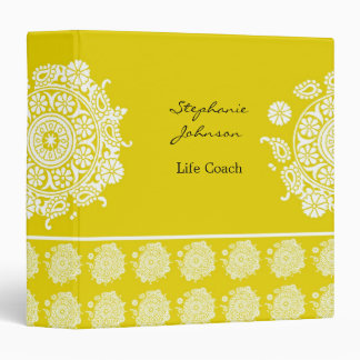 Elegant Ornament White/Yellow Avery Binder