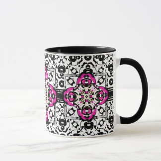 Elegant Ornamental Damask Fuchsia and Black Mug