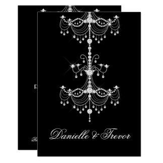 Elegant Ornate Diamond Chandelier on Black Wedding Card