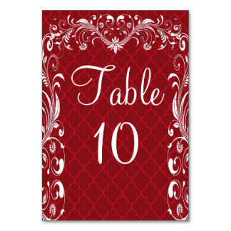 Elegant Ornate Flourish Red Wedding Table Cards
