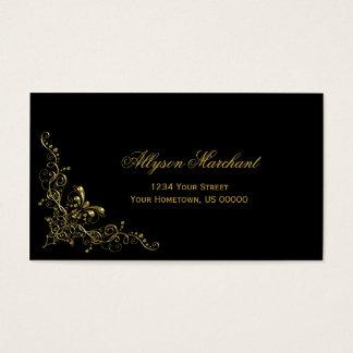 Elegant Ornate Gold Swirls on Black Business Card