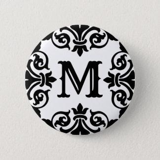 Elegant ornate monogram 2 inch round button
