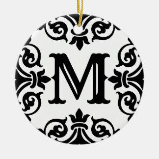Elegant ornate monogram ceramic ornament