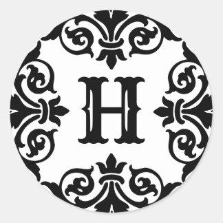Elegant ornate monogram classic round sticker
