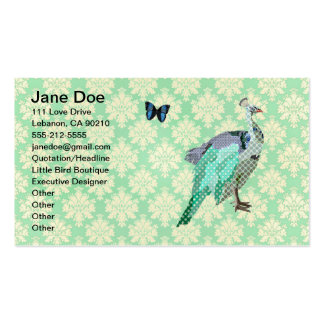 Elegant Painted Peacock Mint Julep Damask Card Business Card Templates