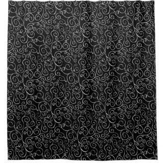 Elegant Painted White Scrolling Curves on Black