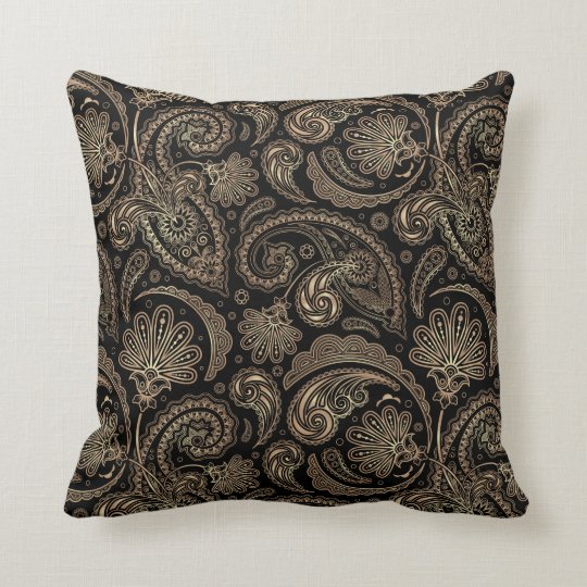 Elegant Paisley Vintage Damask Flowers Floral Throw Pillow