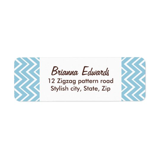 Elegant pale blue chevron zigzag pattern custom return address label
