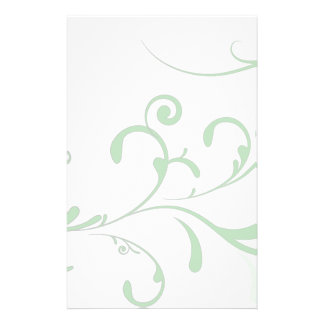 Elegant Pale Green Flourish Stationery
