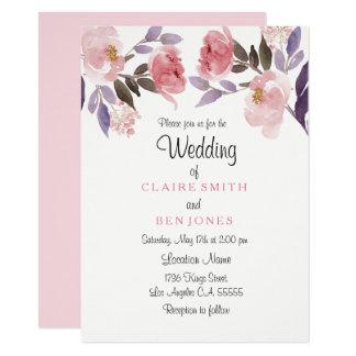 Elegant Pale Pink Peach Flower Wedding invite
