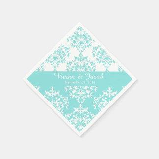 Elegant Pale Turquoise Damask Wedding Napkin Paper Napkin