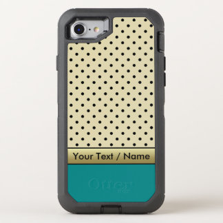 Elegant Parchment Cream Polka Dots On Teal Blue OtterBox Defender iPhone 7 Case