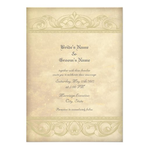 Elegant Parchment Style Wedding Invitations