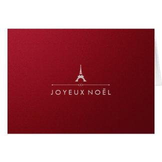 Elegant Paris Christmas Metallic Red and Silver Greeting Card