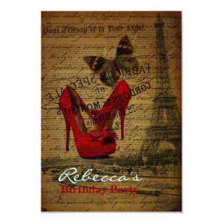 elegant paris french  vintage birthday party card