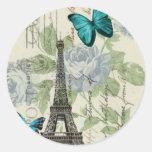 elegant paris vintage butterfly eiffel tower round sticker
