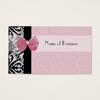 Elegant Parisian Damask Pink Ribbon Business Card