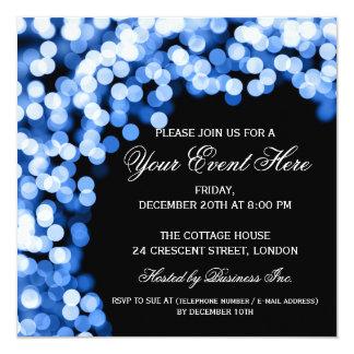 Elegant Party Invitation Gold Sparkly Blue