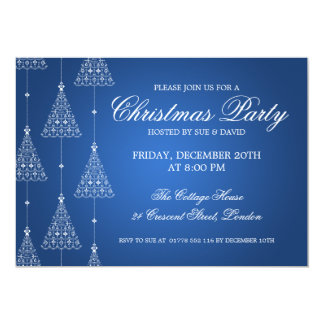 Elegant Party Merry Christmas Trees Blue Card