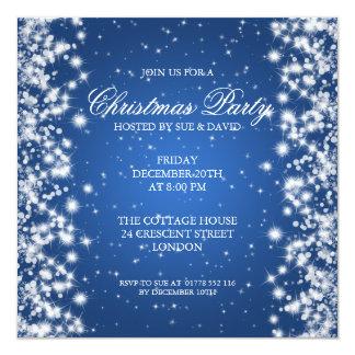 "Elegant Party Sparkle Blue 5.25"" Square Invitation Card"