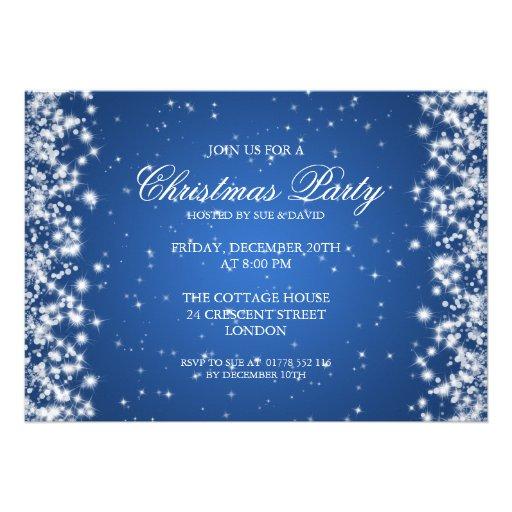 Elegant Party Sparkle Blue Announcements