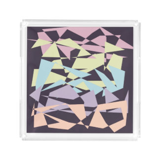 elegant pastel color block geometric triangles acrylic tray