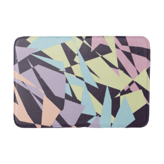 elegant pastel color block geometric triangles bath mat
