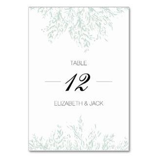 Elegant Pastel Green Wedding Table Cards