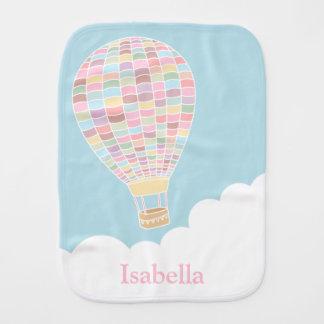 Elegant Pastel Hot Air Balloon Baby Burp Cloth