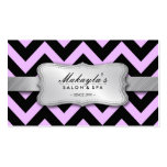 Elegant Pastel Lavender and Black Chevron Pattern Business Card Templates