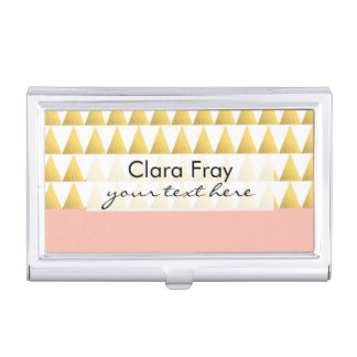elegant pastel peach, faux gold triangles pattern business card holder
