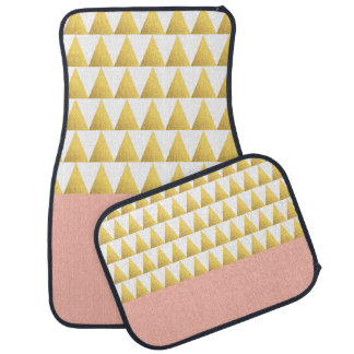 elegant pastel peach, faux gold triangles pattern car mat