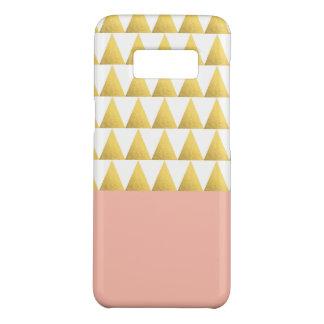elegant pastel peach, faux gold triangles pattern Case-Mate samsung galaxy s8 case