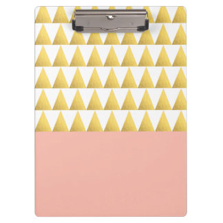 elegant pastel peach, faux gold triangles pattern clipboard