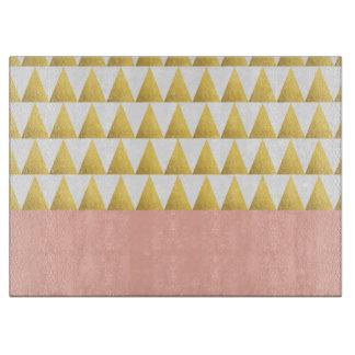 elegant pastel peach, faux gold triangles pattern cutting board