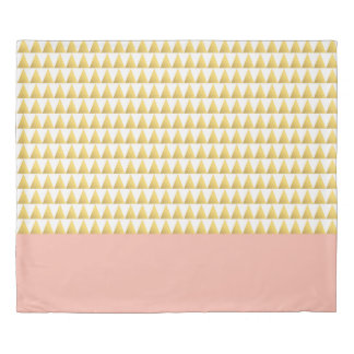 elegant pastel peach, faux gold triangles pattern duvet cover