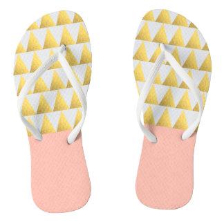 elegant pastel peach, faux gold triangles pattern flip flops