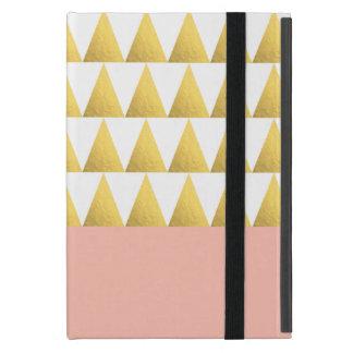 elegant pastel peach, faux gold triangles pattern iPad mini cover