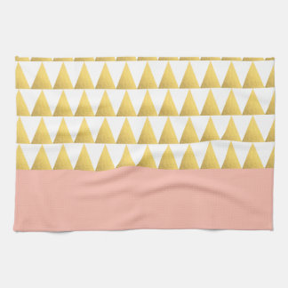 elegant pastel peach, faux gold triangles pattern kitchen towel