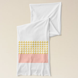 elegant pastel peach, faux gold triangles pattern scarf
